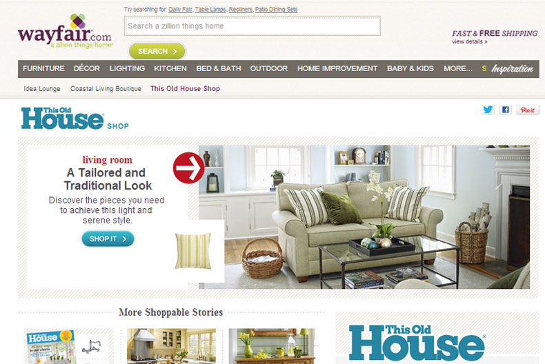Wayfair.com home page