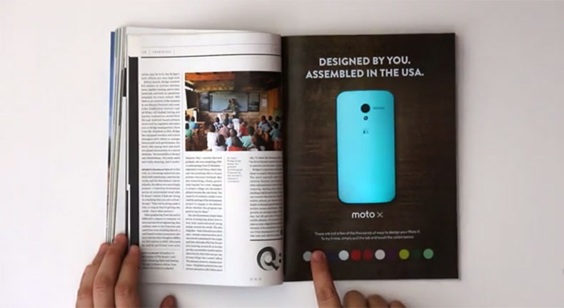 Motorola advertisement with LED lights