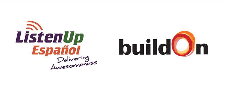 Listen Up Español logo and buildOn logo