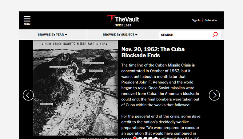 The Vault website screenshot