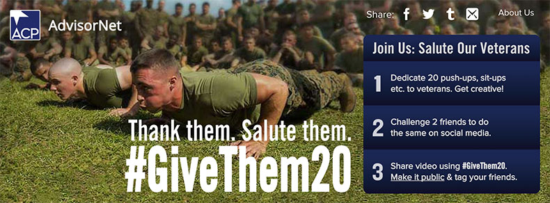 Thank them. Salute them. #GiveThem20