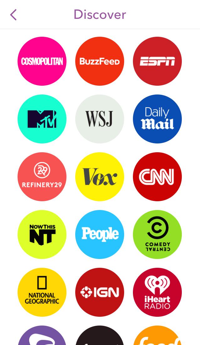 Snapchat's Discover platform screenshot